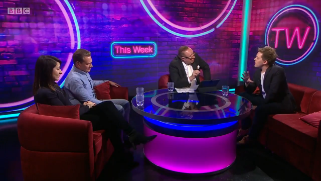 Andrew Neil and Owen Jones clash during interview. Image: BBC