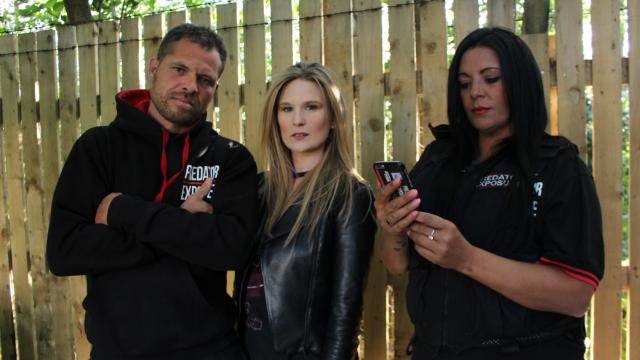 Livvy Haydok meets the paedophile hunters. (Photo: BBC)