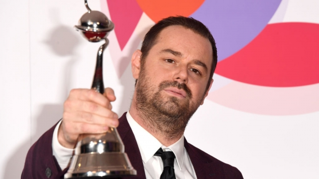 Danny Dyer with the award for Serial Drama Performance during the National Television Awards (Getty)