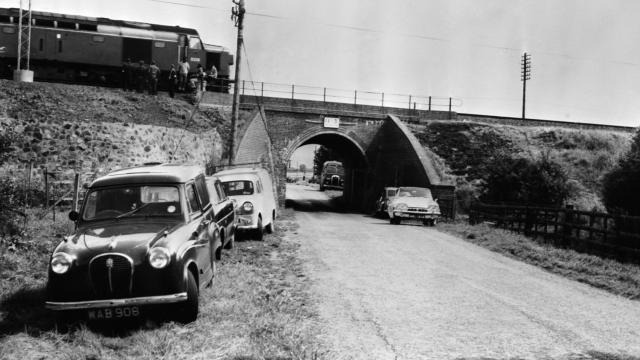 The Mail Train which was stopped on a bridge during The Great Train Robbery