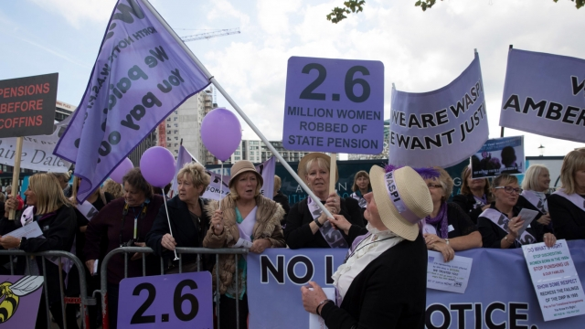 A pressure group protests over women's pension rights outside the Conservative Party Conference 2016 (Photo: Getty)