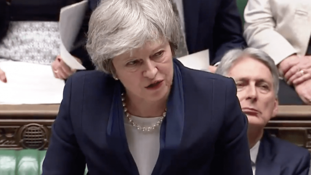 Theresa May speaking earlier in support of her deal (Parliament TV)