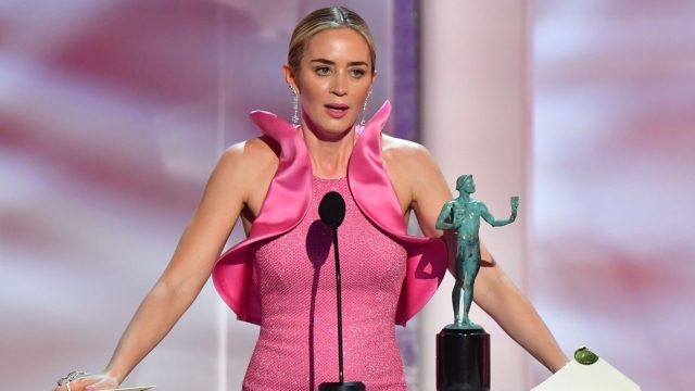 Emily Blunt accepted the award for Outstanding Performance by a Female Actor in a Supporting Role in A Quiet Place (Photo: Frederic J. BROWN / AFP)FREDERIC J. BROWN/AFP/Getty Images)