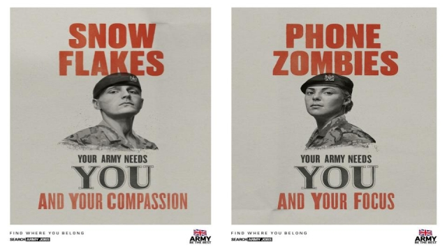 Two of the British Army recruitment posters (MoD/Crown Copyright/PA Wire)