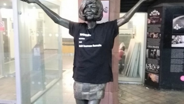 The group, named ReSisters United, posted a gallery of statues sabotaged and given the t-shirts