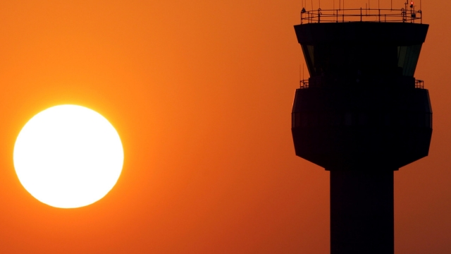 The air traffic control tower at East Midlands Airport where Flybmi was based (Photo: Darren Staples/Reuters)