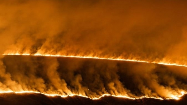 Firefighters have been tackling a blaze covering an area of around 1.5 square kilometres after Britain saw its hottest winter day on record on Tuesday. PRESS ASSOCIATION Photo. Issue date: Tuesday February 26, 2019 Photo credit should read: Rich Needham/PA Wire