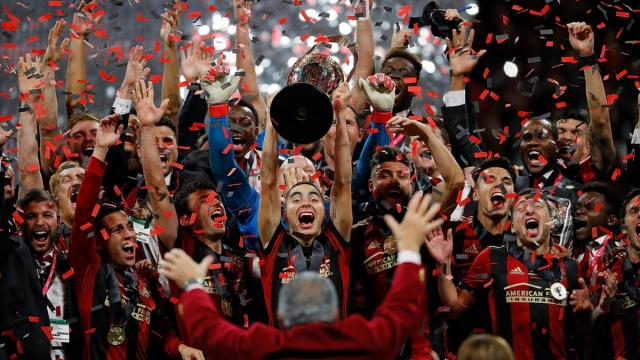 Atlanta United celebrates with the MLS Cup after their 2-0 over the Portland Timbers during the 2018 MLS Cup (Getty Images)