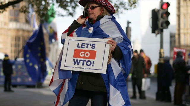 """A pro-Brexit activist draped in a Union flag holds a placard reading """"Let's go WTO"""", referring to the World Trade Organisation (Photo: Getty Images)"""