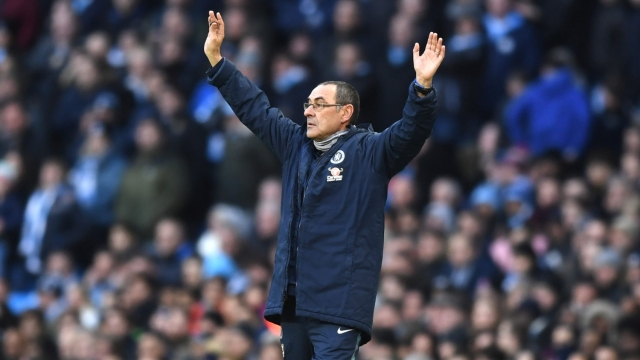 Sarri watched his Chelsea side concede six goals against Manchester City (Getty Images)