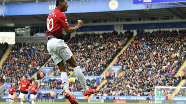 Marcus Rashford celebrates after scoring against Leicester City (Getty)