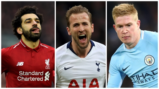 Mohamed Salah, Harry Kane and Kevin De Bruyne are three men who could fire their sides to the Premier League title (Getty Images)