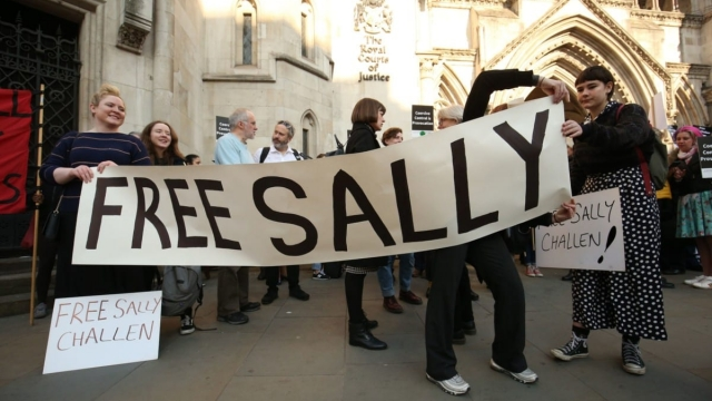 Supporters of Sally Challen outside the Royal Courts of Justice (Jonathan Brady/PA Wire)