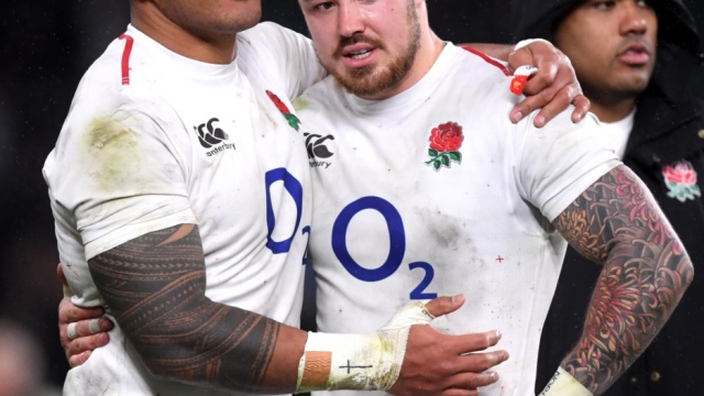 Manu Tuilagi and Jack Nowell of England after the Six Nations match against Scotland at Twickenham Stadium on 16 March 2019 (Getty Images)
