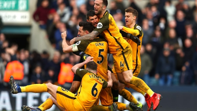 Brighton celebrate victory after the penalty shoot out during the FA Cup Quarter Final match against Millwall (Getty Images)