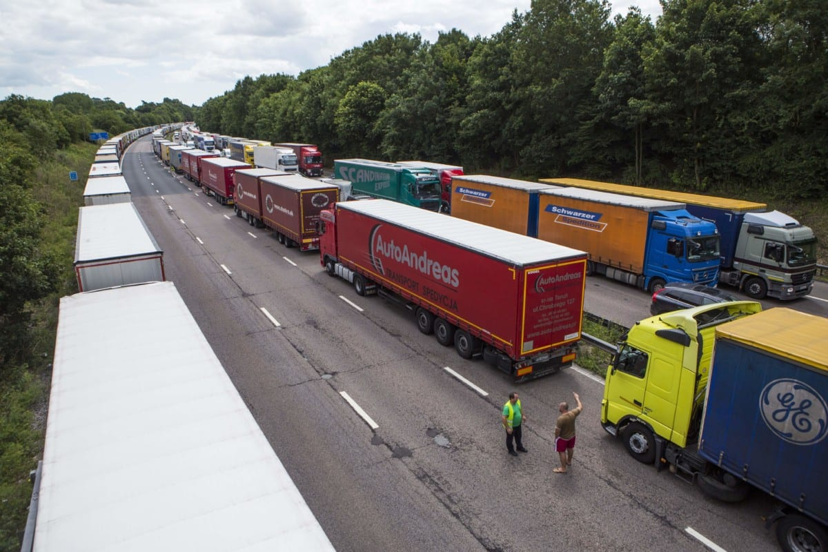 Lorry queues Brexit Calais strike