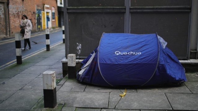 A homeless persons tent is pitched in a back street alley on January 13, 2017 in Manchester, United Kingdom.(Photo by Christopher Furlong/Getty Images)
