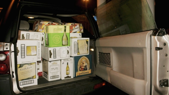 A car boot filled with beverages at the Calais ferry port to return to Dover (Photo: Getty)