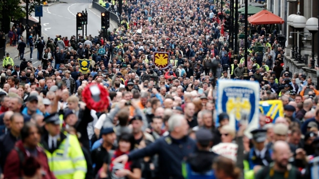 More than 40,000 people marched at a Democratic Football Lads Alliance demonstration in 2017 (Getty Images)