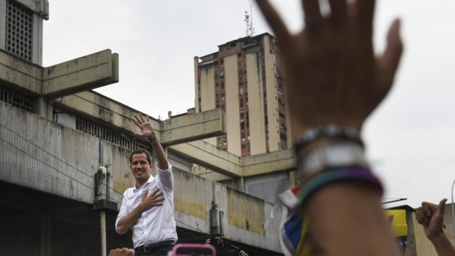 Article thumbnail: Venezuelan opposition leader Juan Guaidó, recognized by many members of the international community as the country's rightful interim ruler, arrives to a rally at Plaza Bicentenario on April 26, 2019 (Photo: Carlos Becerra/Getty Images)