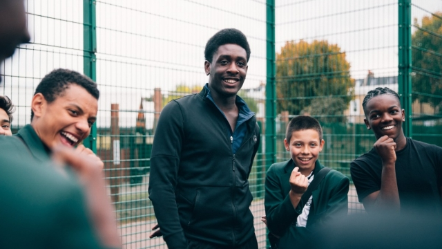Timi Fernandez with some of the youngsters benefiting from the Football Beyond Borders project (Photo: Football Beyond Borders)