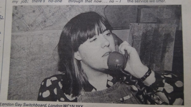 Stonewall co-founder Lisa Power working for Switchboard, the LGBT helpline