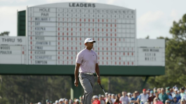 Article thumbnail: Masters mania: Tiger Woods on his way to a 67 to finish two off the lead (Getty Images)