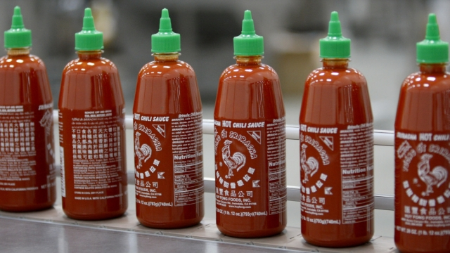 Sriracha chilli sauce on the production line (David McNew/Getty Images)