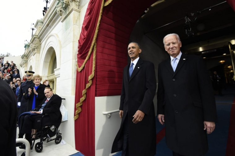 US President Barack Obama and Vice President Joe Biden arrive for the Presidential Inauguration of Donald Trump [Getty Images]