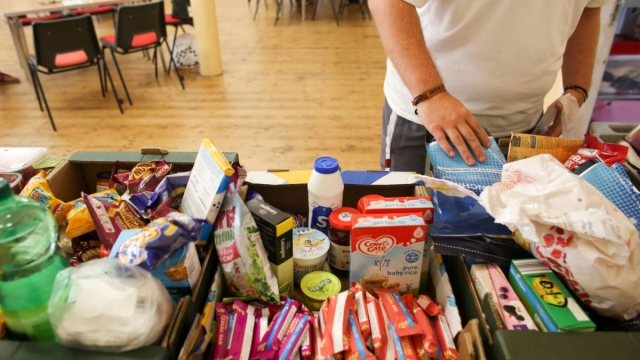 A foodbank run by the charity Transformation CPR being run at the Camborne Centenary Methodist Church in Camborne on July 25, 2017 in Cornwall (Getty Images)