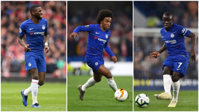Antonio Rudiger (L), Willian (C) and N'Golo Kante (R) are all expected to start at Old Trafford