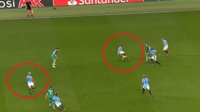 Sergio Aguero is standing in an offside position as the ball hits Bernardo Silva (BT Sport)