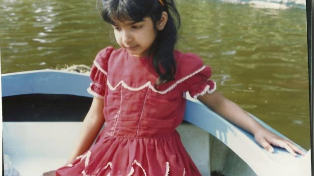 Anita Sethi as a child in Rusholme, Manchester