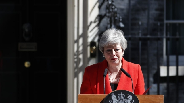 Theresa May reacted with visible emotion as she concluded her resignation speech (Photo: Getty)