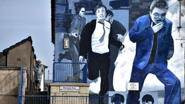A mural at Free Derry Corner depicting the events of Bloody Sunday (Photo: Getty)