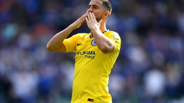 Eden Hazard blows kisses to Chelsea's supporters on the final day of the Premier League season (Getty Images)