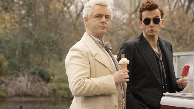 Michael Sheen and David Tennant star as the embodiments of good and evil in Good Omens. Photo: Amazon TV Still Amazon Prime Image via Lotte Watts-Jones Lotte@theacademypr.com