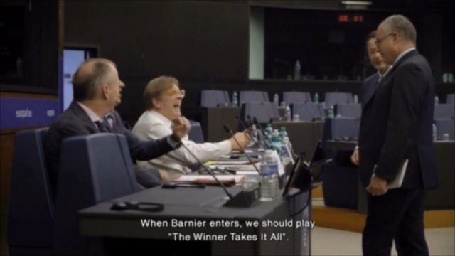 Guy Verhofstadt laughs as a colleague jokes about the speech. (Photo: BBC)