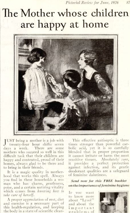 Advertisement from 1926 advocating the use of Lysol as a douche (Wikimedia commons)
