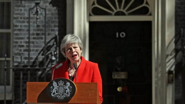 Theresa May announcing she will resign as leader of the Conservatives on 7 June. (Photo: Yui Mok/PA)