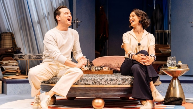Andrew Scott as Garry Essendine and Indira Varma as Liz Essendine in Present Laughter at the Old Vic. Photo: Manuel Harlan