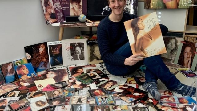 Matt Hemley, journalist for The Stage, with his Gloria Estefan collection