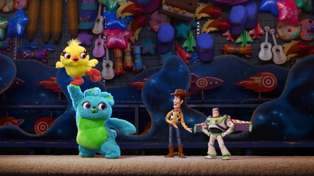 Article thumbnail: Woody and Buzz meet new characters Ducky and Bunny (voiced by Jordan Peele and Keegan-Michael Key) in Toy Story 4. ©2018 Disney/ Pixar