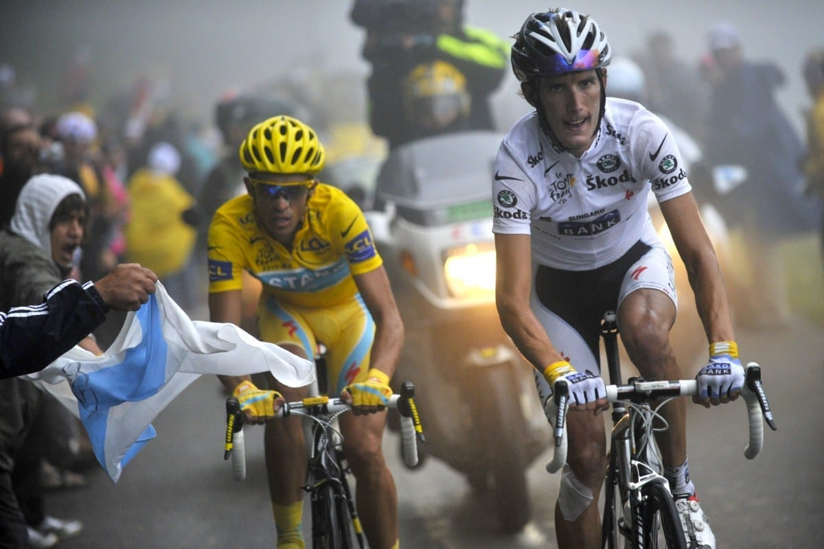 Andy Schleck climbs in the White Jersey ahead of race leader Alberto Contador in 2010 – Schleck was later awarded overall victory (Photo: AFP/Getty)