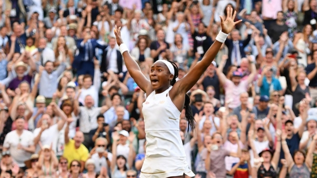 Article thumbnail: US player Cori Gauff celebrates beating Slovenia's Polona Hercog during their women's singles third round match (AFP/Getty Images)