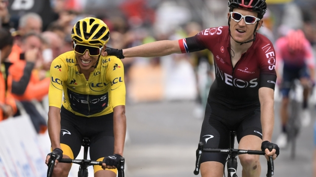 Colombia's Egan Bernal is congratulated by teammate Great Britain's Geraint Thomas as he crosses the finish line of the twentieth stage of the 106th edition of the Tour de France (AFP/Getty Images)