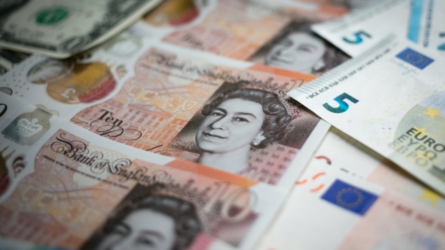 Article thumbnail: £10 notes, euro notes and US dollar bills. The strength of the Pound Sterling has taken a tumble in recent days (Photo: Getty Images)