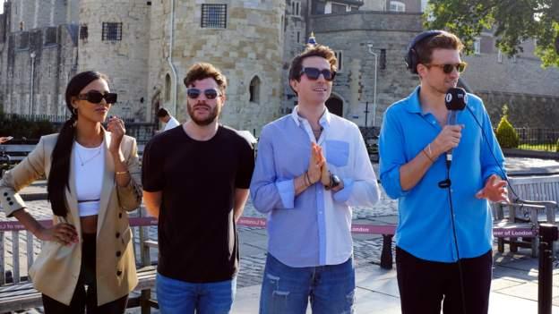 Maya Jama, Jordan North, Nick Grimshaw and Greg James at the Tower of London this morning (Photo: BBC)