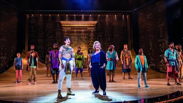 Jac Yarrow as Joseph and Sheridan Smith as the Narrator in Joseph And The Amazing Technicolor Dreamcoat at the London Palladium. Photo: Tristram Kenton