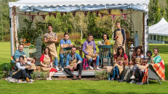 Great British Bake Off cast 2019, (left to right) Phil, Helena, Alice, David, Henry, Dan, Michael, Michelle, Jamie, Steph, Amelia, Priya and Rosie